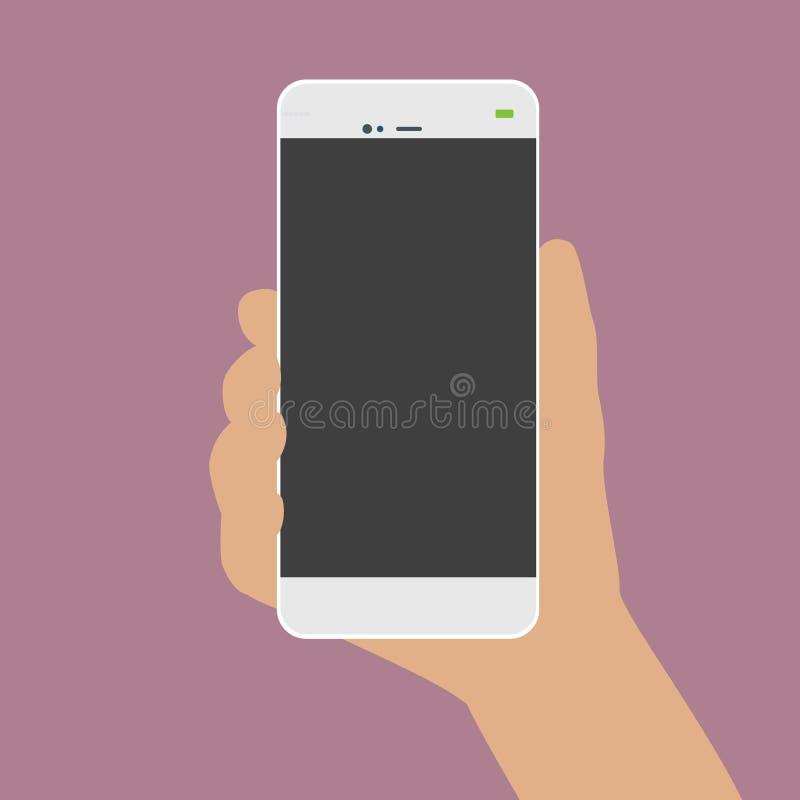 Mano humana que lleva a cabo un vector blanco del teléfono del teléfono stock de ilustración