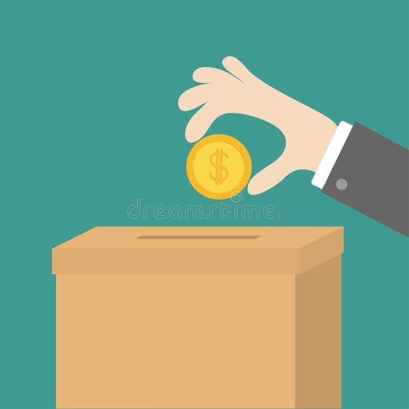 Mano humana que pone el dinero de oro de la moneda con la muestra de dólar en la caja de cartón del papel de la donación Concepto libre illustration