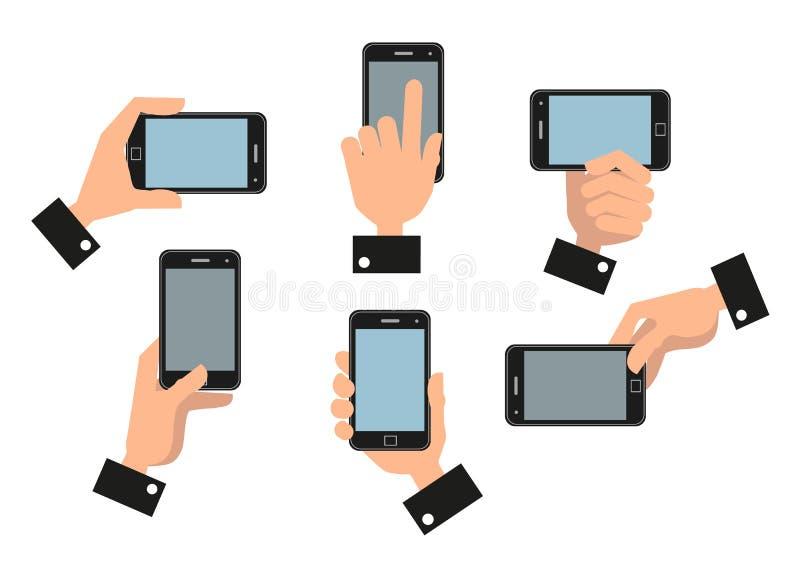 Mano humana que sostiene el teléfono elegante móvil ilustración del vector