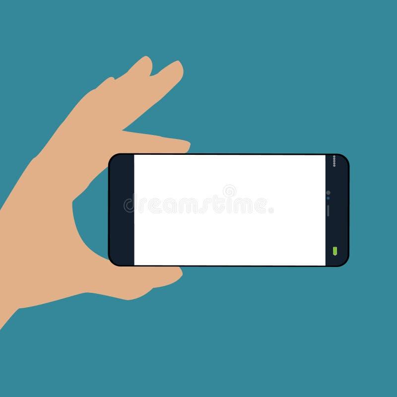 Mano humana que sostiene el teléfono horizontalmente Teléfono negro, ilustración del vector