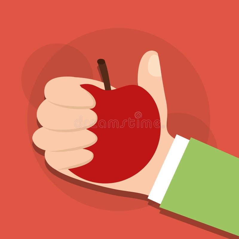 Mano humana que sostiene la fruta de la manzana libre illustration
