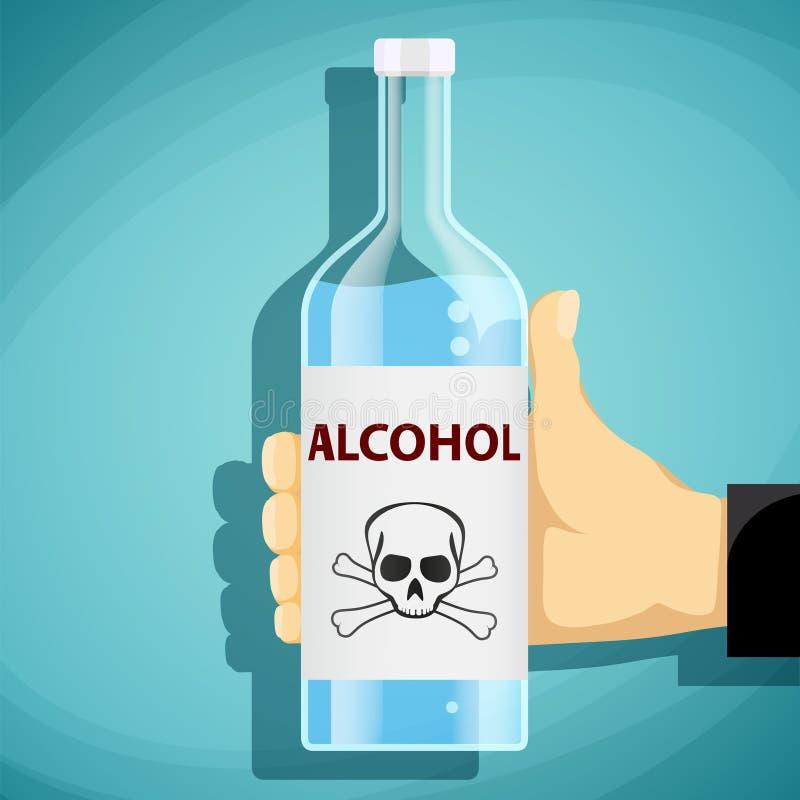 Mano humana que sostiene una botella de alcohol Cráneo y bandera pirata La Florida ilustración del vector