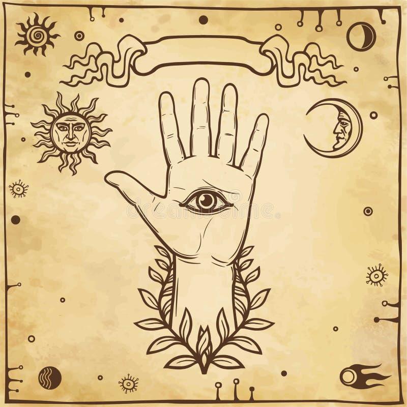 Mano humana, símbolos místicos Ojo de Providence libre illustration