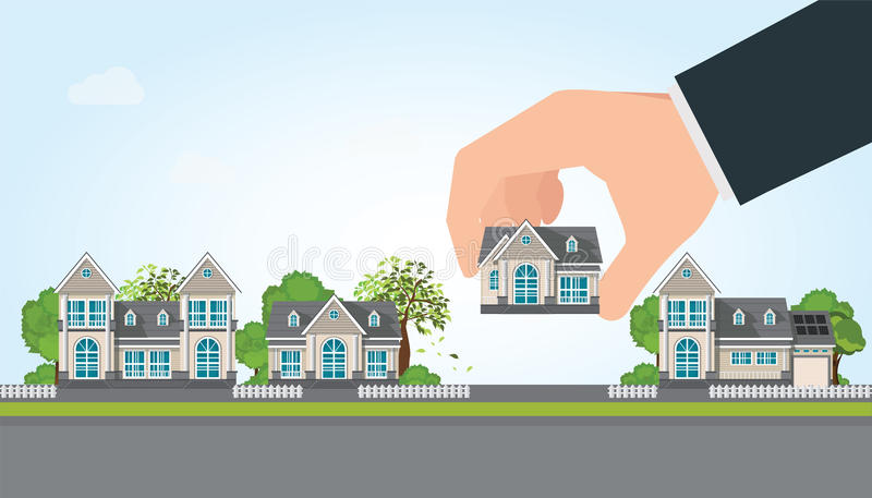 Mano humana selecta a sostener una casa derecha libre illustration