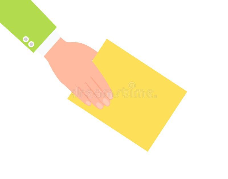 Mano humana y ejemplo de papel amarillo del vector libre illustration