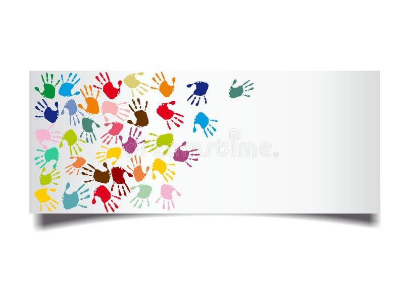 Mano-impresiones coloridas stock de ilustración