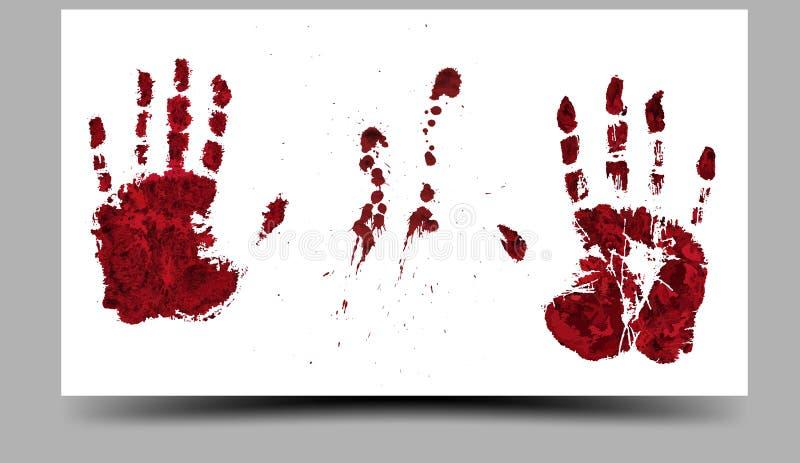 Mano-impresiones sangrientas 16:9 ilustración del vector