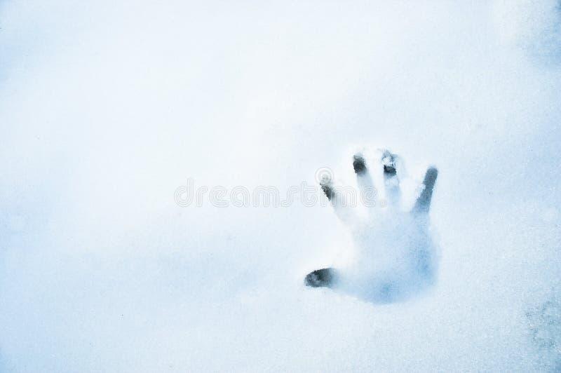Mano-imprima en la nieve foto de archivo libre de regalías