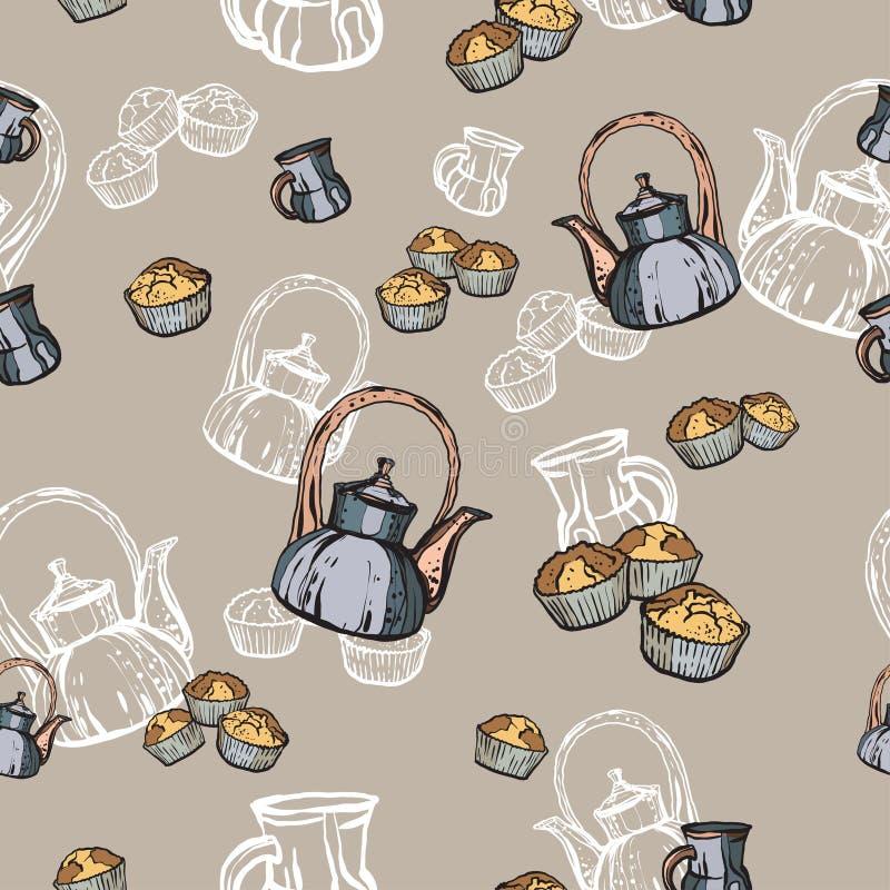 Mano inconsútil del modelo de las teteras, de las tazas y de las magdalenas dibujada en viejo estilo Ejemplo del vector del tiemp libre illustration