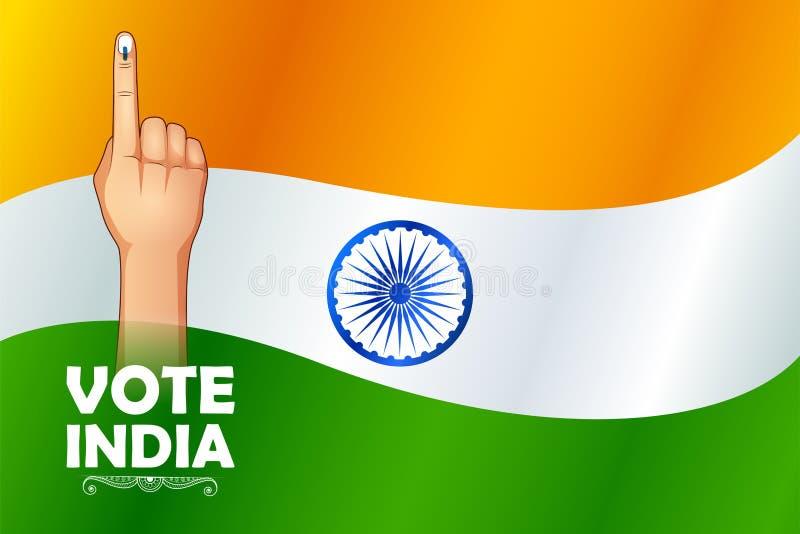 Mano india de la gente con la muestra de votación que muestra la elección general de la India stock de ilustración