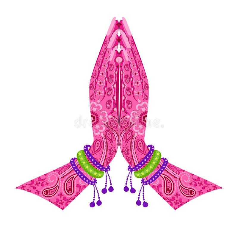 Download Mano India En Postura Del Saludo Ilustración del Vector - Ilustración de editable, cultural: 41901074