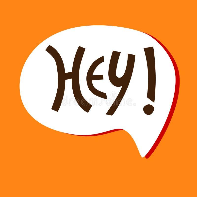 Mano-indicado con letras elevando ey frase en la burbuja blanca en el fondo anaranjado para la etiqueta engomada, tarjeta, camise libre illustration