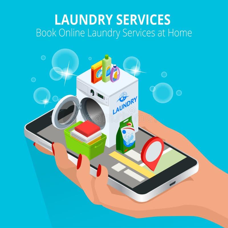Mano isométrica de la mujer usando el smartphone que reserva servicio de lavadero en línea Reserve el concepto en línea de los se ilustración del vector