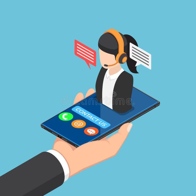 Mano isométrica del hombre de negocios que sostiene smartphone con la llamada femenina c libre illustration