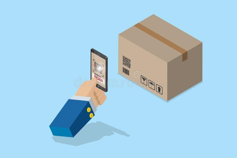 Mano isométrica del negocio que sostiene smartphone para explorar código del qr en la caja para el detalle del concepto de la mer ilustración del vector