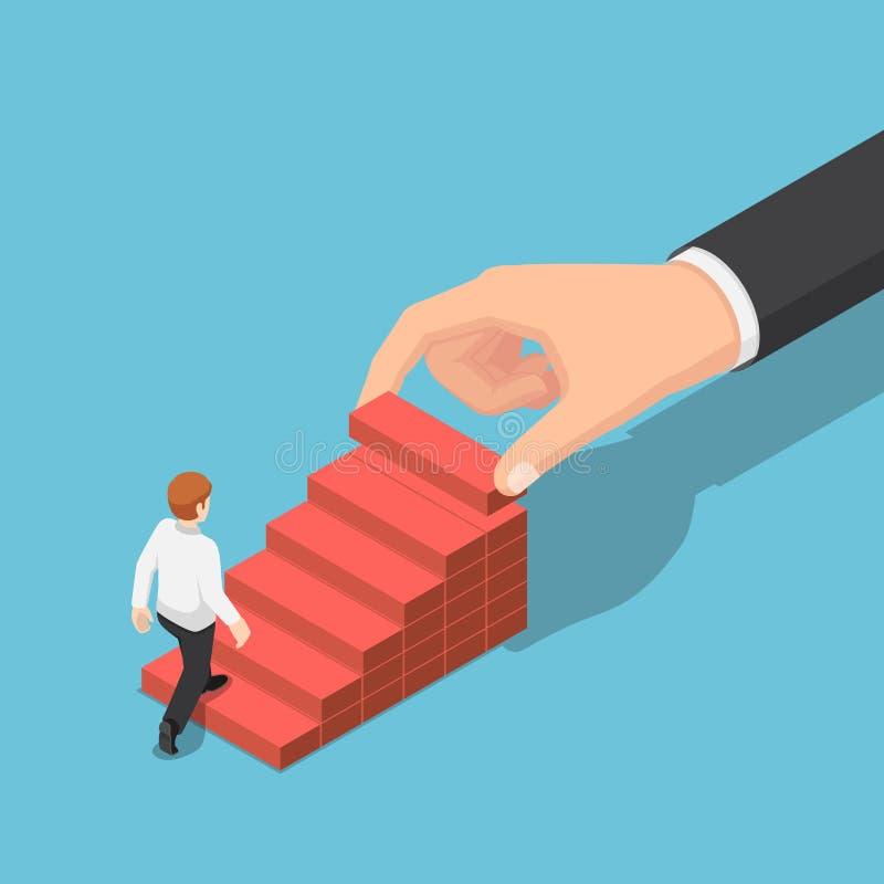 Mano isométrica que arregla el bloque de madera que apila como escalera del paso para ayudar al hombre de negocios a subir más al ilustración del vector