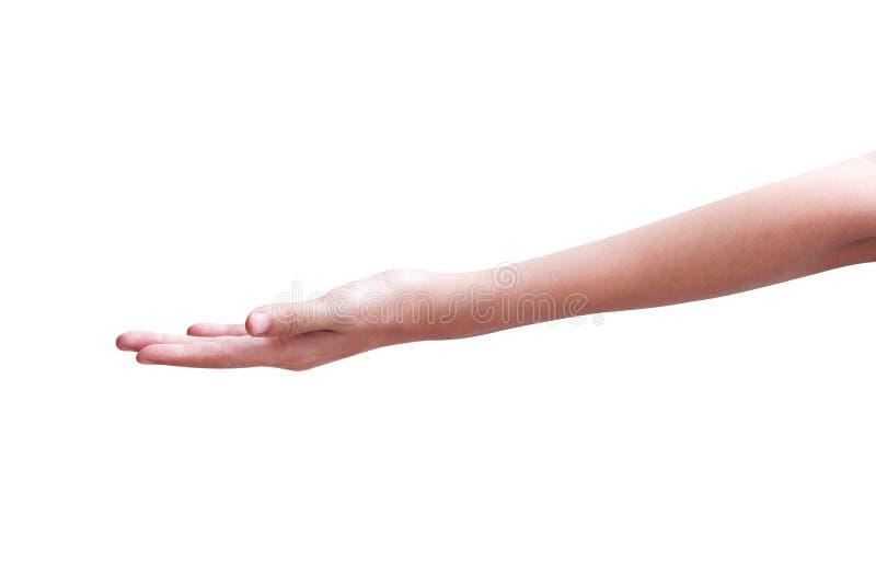 Mano izquierda asiática en blanco abierta de la mujer aislada en el fondo blanco con la trayectoria de recortes foto de archivo