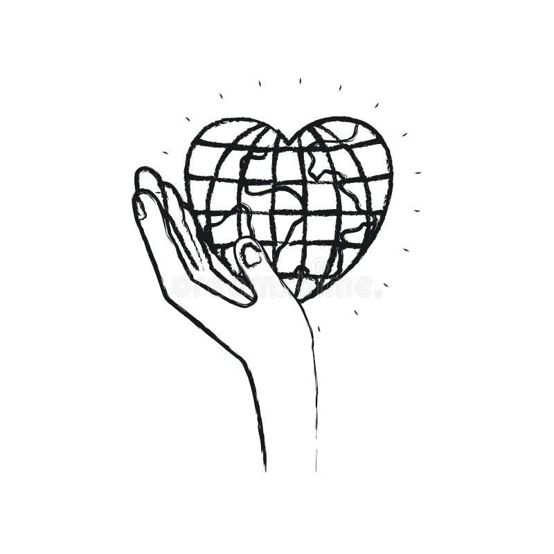 Mano izquierda borrosa de la silueta que sostiene en palma un mundo del globo de la tierra en forma del corazón stock de ilustración