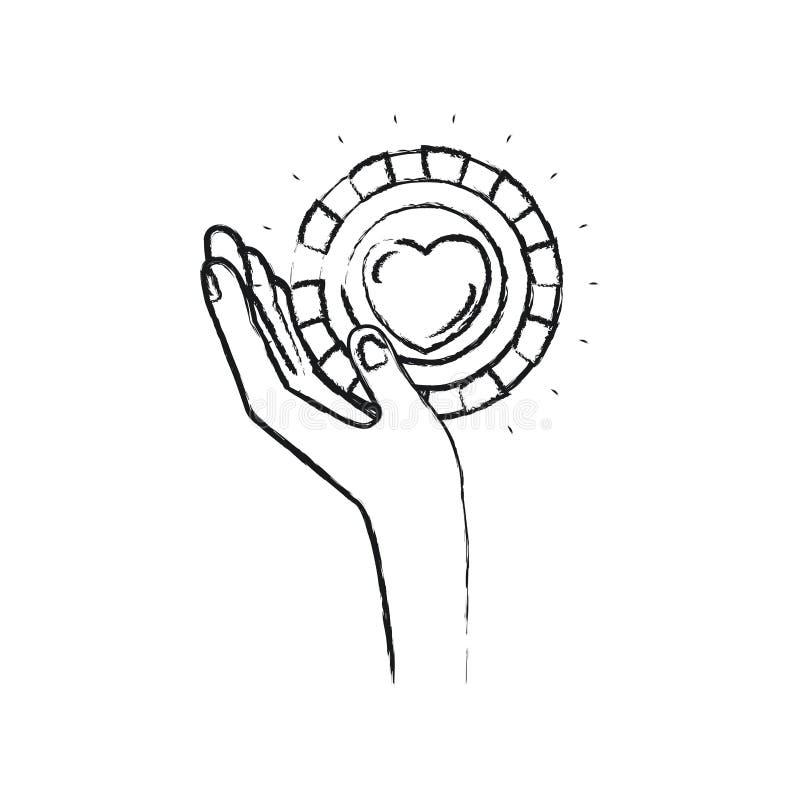 Mano izquierda borrosa de la silueta que sostiene en palma una moneda con forma del corazón dentro del símbolo de la caridad libre illustration