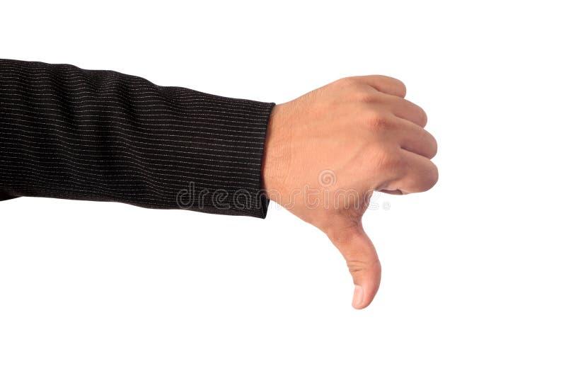 Mano izquierda del ` s del hombre de negocios que hace que la muestra tiene aversión el PA que acorta imágenes de archivo libres de regalías