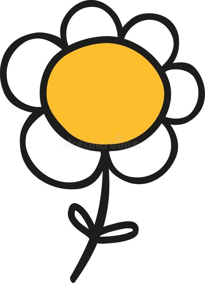 Mano linda de la flor de la margarita dibujada ilustración del vector