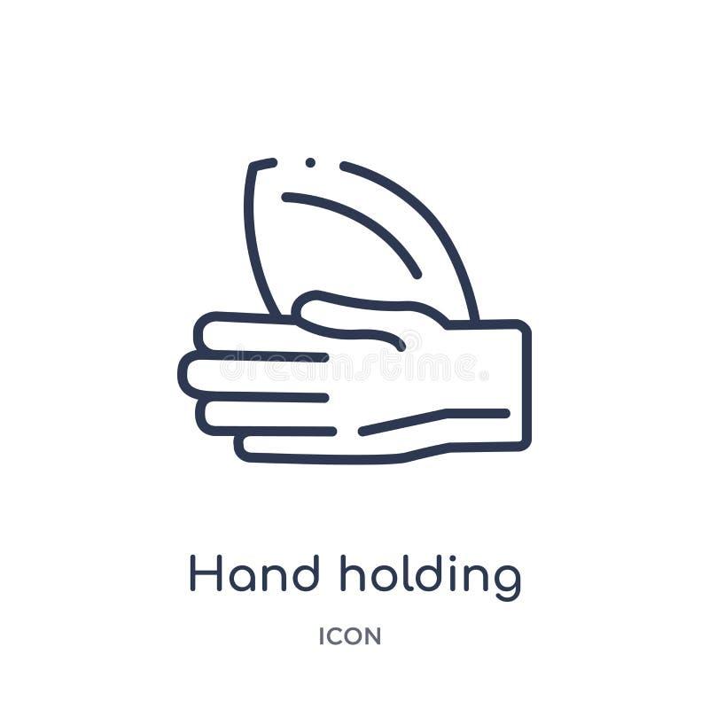 Mano linear que lleva a cabo el icono de la bola de la colección del esquema del fútbol americano Línea fina mano que lleva a cab stock de ilustración