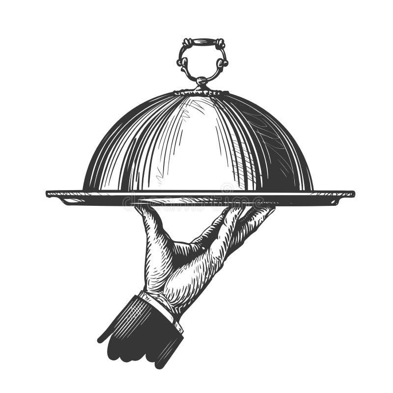 Mano a mano del ` s del camarero que sostiene la bandeja para los platos calientes Ejemplo para el restaurante o el café del menú ilustración del vector