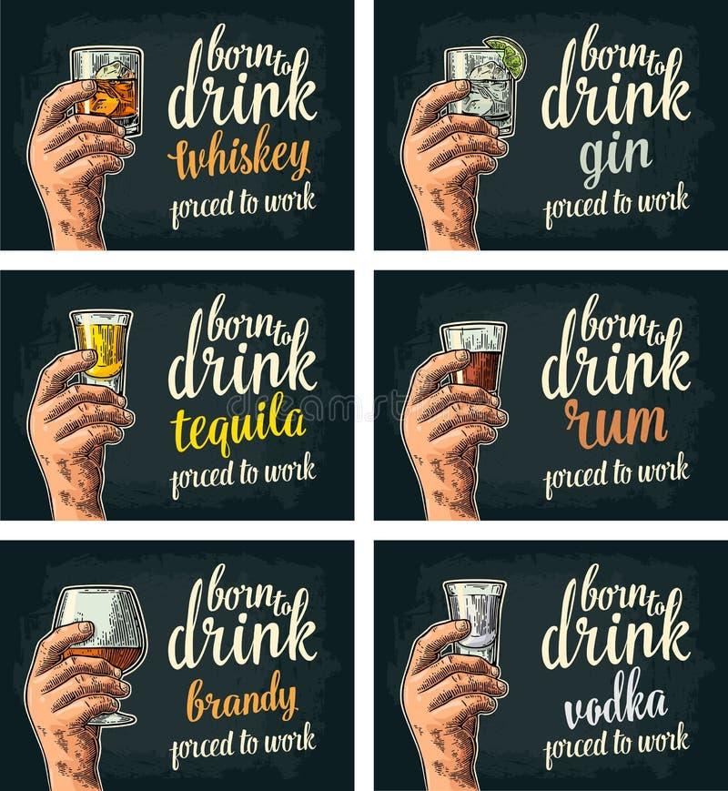 Mano maschio che tiene i vetri con birra, tequila, vodka, rum, whiskey, brandy illustrazione vettoriale