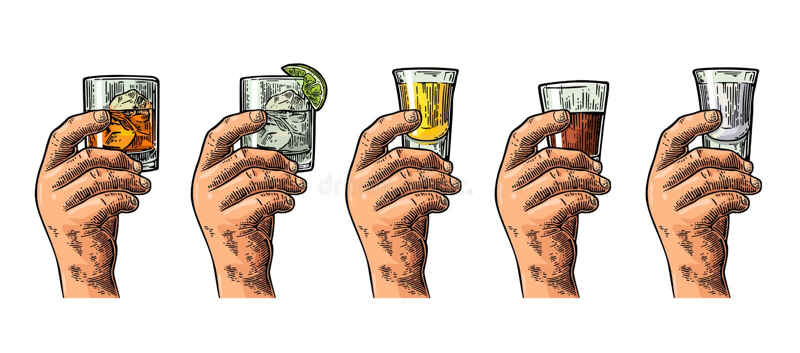 Mano maschio che tiene i vetri con la tequila, vodka, rum, gin, whiskey illustrazione di stock