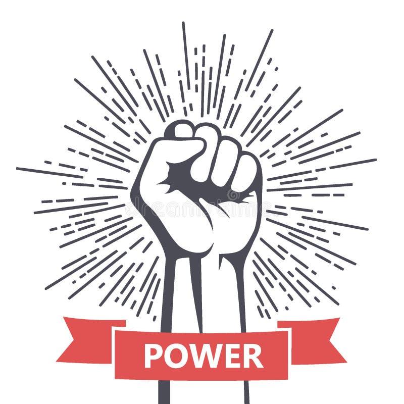 Mano maschio del pugno, simbolo proletario di protesta Segno di potere illustrazione vettoriale