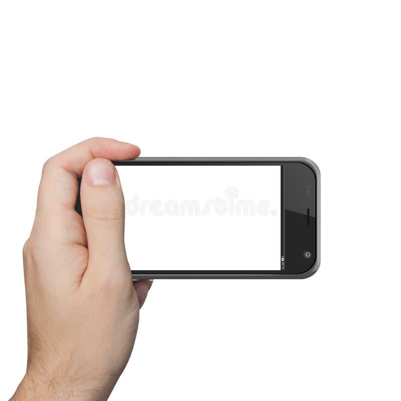 Mano maschio isolata che tiene il tocco della compressa del telefono fotografia stock