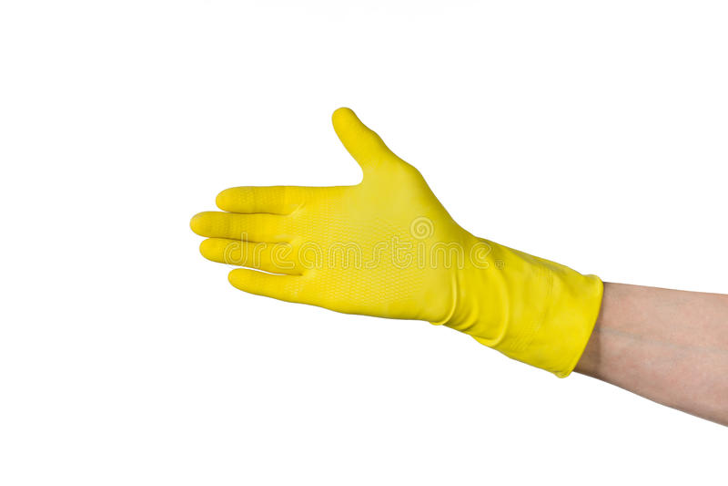 Mano maschio nel guanto di gomma di pulizia gialla isolato su bianco fotografia stock libera da diritti