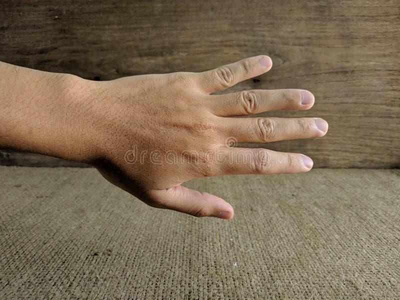 Mano masculina ampliada en el saludo fotos de archivo libres de regalías