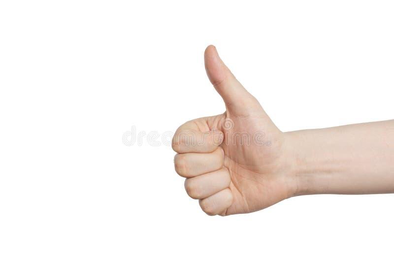 Mano masculina con gesto de aprobación - pulgar para arriba, en un fondo blanco fotos de archivo