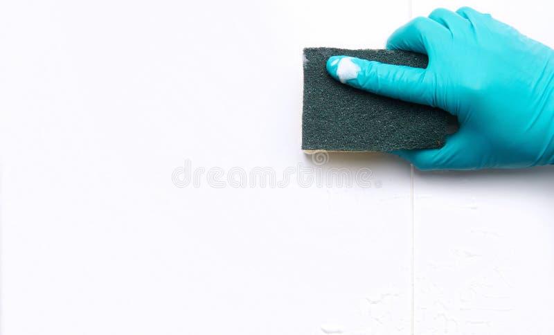 Mano masculina con la limpieza de las tejas y de los huecos del cuarto de baño con una esponja Con el espacio de la copia fotografía de archivo libre de regalías