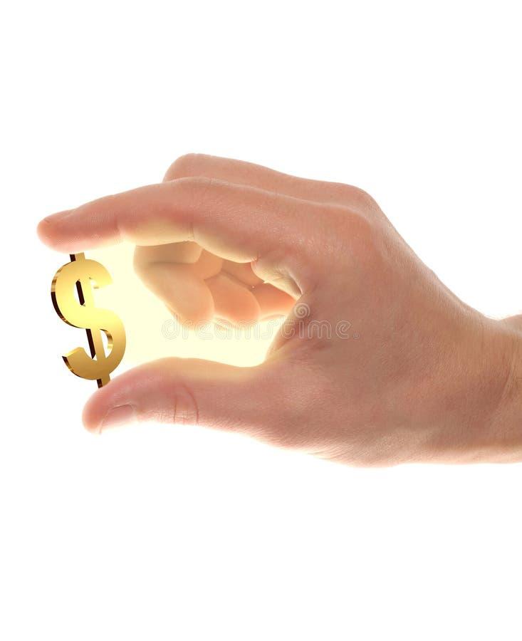 Mano masculina formada receptor de papel con símbolo del oro de los usd foto de archivo libre de regalías
