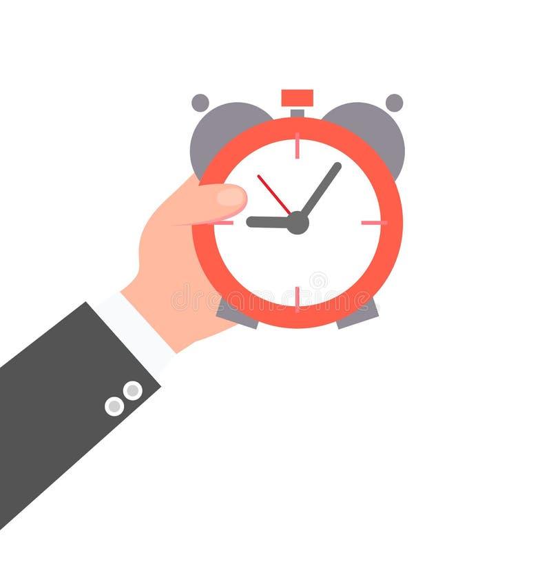 Mano masculina que celebra un ejemplo del vector del reloj ilustración del vector