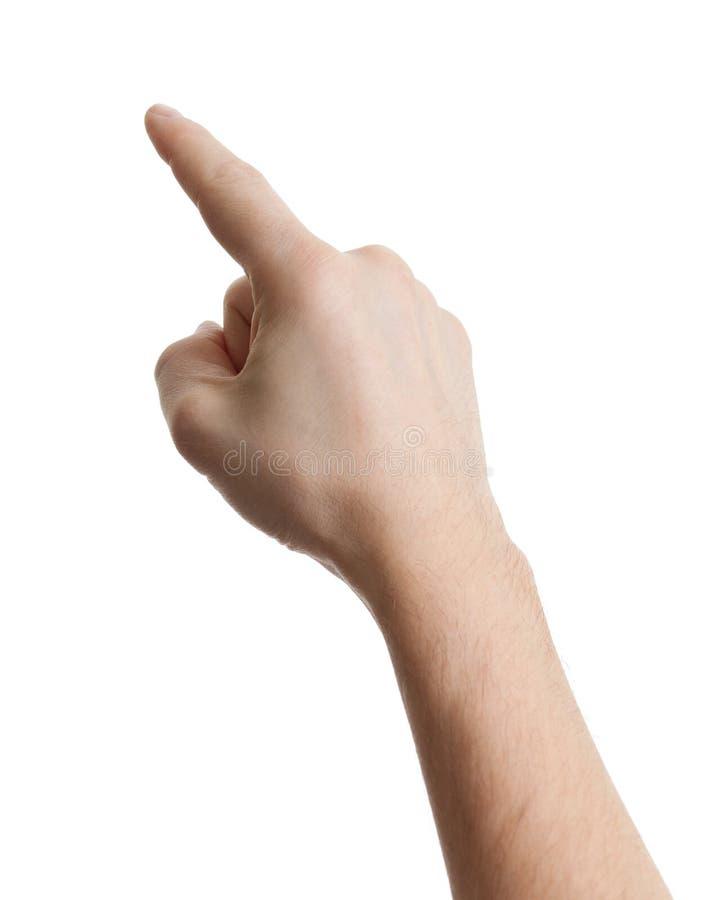 Mano masculina que señala, tocando o presionando en blanco imagen de archivo libre de regalías