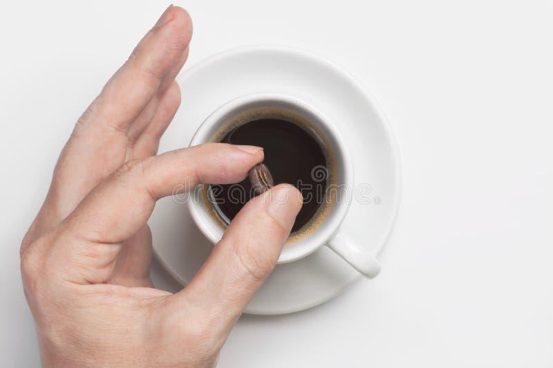 Mano masculina que sostiene el grano de café sobre la taza de café sólo contra la opinión superior del fondo blanco con el espaci foto de archivo