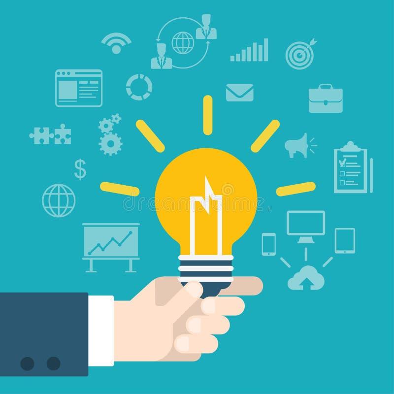 Mano moderna de la innovación de la idea del estilo plano que sostiene la lámpara infographic ilustración del vector