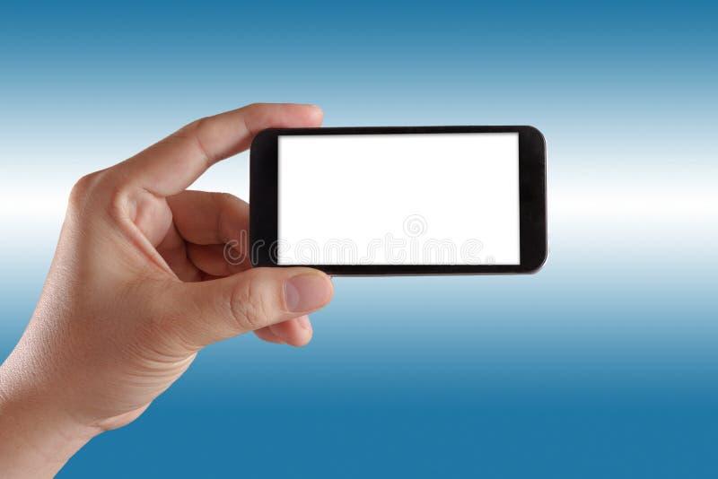 Mano moderna del teléfono móvil aislada foto de archivo