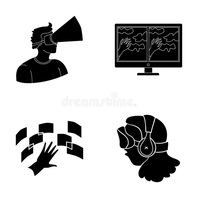 Mano, monitor, cuffie, donna Le icone stabilite della raccolta di realtà virtuale nello stile nero vector l'illustrazione di rise royalty illustrazione gratis
