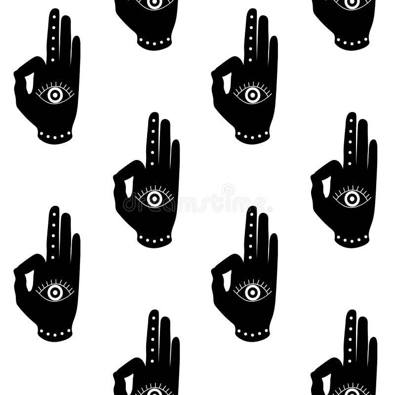 Mano negra con el seaml del modelo del símbolo del hinduism del buddhism del mudra del ojo stock de ilustración