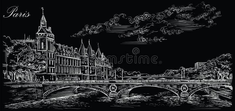 Mano negra del vector que dibuja París 5 stock de ilustración