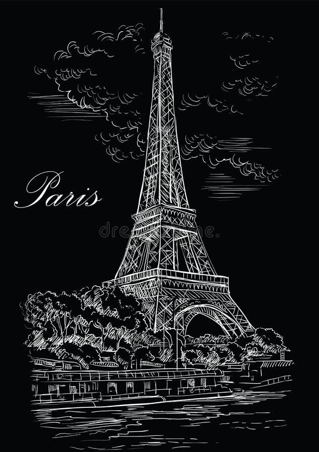 Mano negra del vector que dibuja París 1 libre illustration