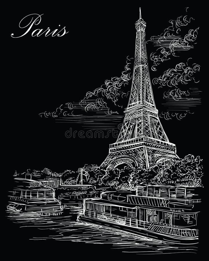 Mano negra del vector que dibuja París 3 stock de ilustración