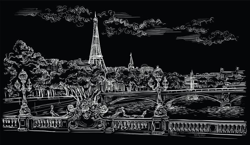 Mano negra del vector que dibuja París 8 ilustración del vector