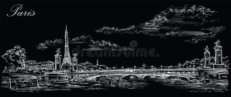 Mano negra del vector que dibuja París 4 stock de ilustración