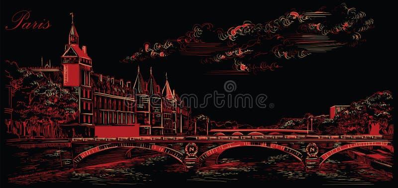 Mano negra y roja del vector que dibuja París 5 stock de ilustración