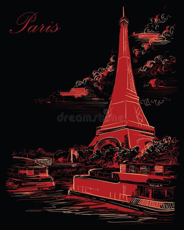 Mano negra y roja del vector que dibuja París 3 libre illustration